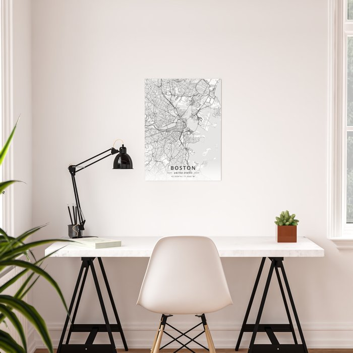 Boston, United States - Light Map Poster