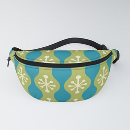 Mid Century Modern Ogee Pattern 147 Olive Green Beige and Turquoise Fanny Pack