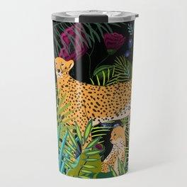 Jungle Cats, Tropical Night Floral Garden Travel Mug