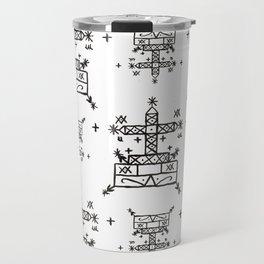 Baron Samedi Voodoo Veve Symbols in White Travel Mug