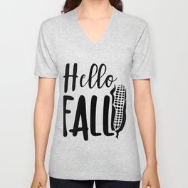 Hello Fall Corn Autumn Thanksgiving Unisex V-Neck