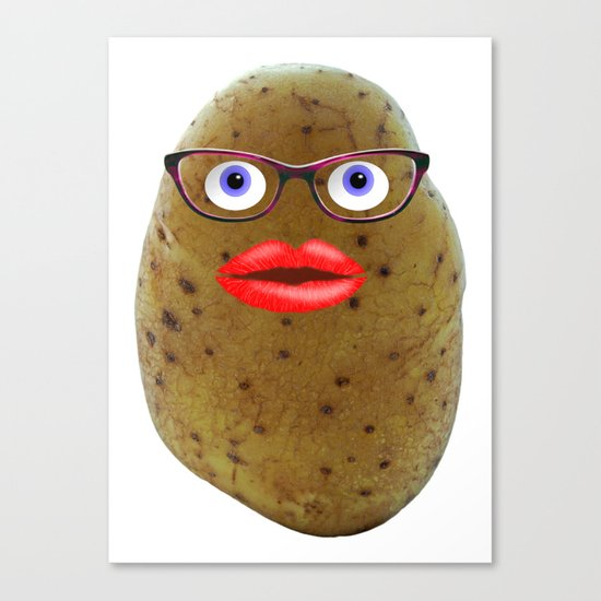 Funny Potato Cute Female Character With Glasses Canvas Print