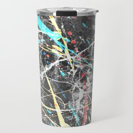 Abstract teal yellow paint splatters gray marble Travel Mug