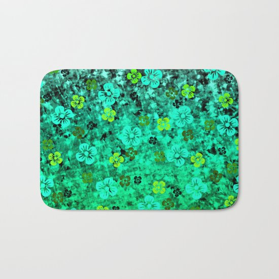 LUCK OF THE IRISH Colorful Emerald Green Ombre St Patricks Day Floral Shamrock Four Leaf Clover Art Bath Mat