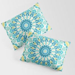 Lime Green and Turquoise Blue Mandala Pillow Sham