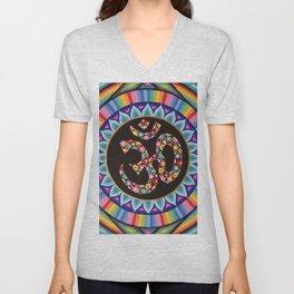 Flowery Om Mandala Unisex V-Neck