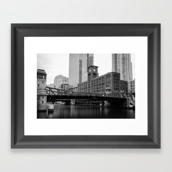Chicago Riverwalk - Clark Street Bridge / Merchandise Mart Framed Art Print