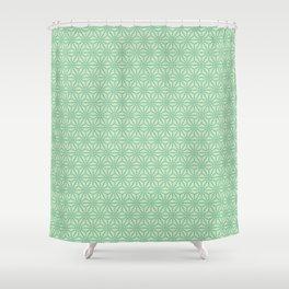 green Japanese Hemp Kimono Pattern Tie Dye Bitta Shower Curtain