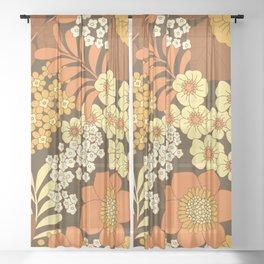 Brown, Yellow, Orange & Ivory Retro Flowers Sheer Curtain