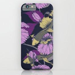 Purple Floral Koi Pattern iPhone Case