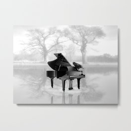 Crow on Grand Piano in Water, Musical Interlude A225 Metal Print