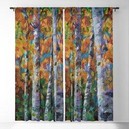 Birch trees - Palette Knife  Blackout Curtain