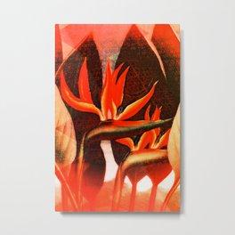 Floreal - Tropical Flowers Daydream Orange Peach Coral Metal Print