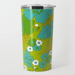 Green, Turquoise, and White Retro Flower Design Pattern Travel Mug