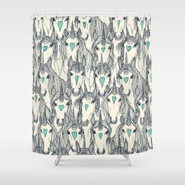 unicorn love indigo mint pearl Shower Curtain
