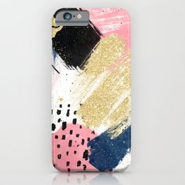 Modern pink gold navy geometric abstract brushstrokes pattern iPhone Case