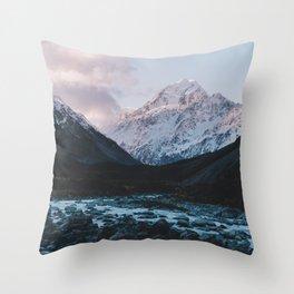Hooker Valley, Mt Cook Throw Pillow