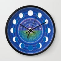 moon phase Wall Clocks featuring Moon Phase Mandala by Elspeth McLean