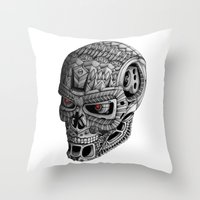 terminator Throw Pillows featuring Ornate Terminator by Adrian Dominguez