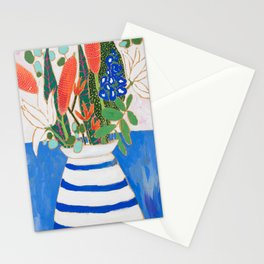 Nautical Striped Vase of Flowers Stationery Cards
