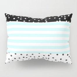 Modern black white teal stripes watercolor polka dots Pillow Sham