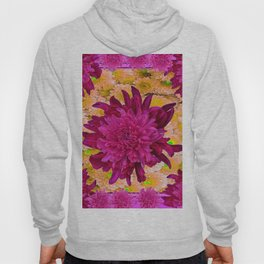 Stylized  Burgundy Purple & Yellow Chrysanthemums Floral Garden Hoody
