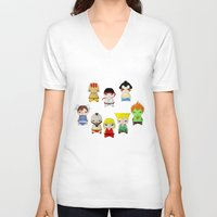 street fighter V-neck T-shirts featuring A Boy - Street fighter by Christophe Chiozzi