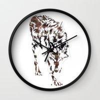 monster hunter Wall Clocks featuring Hunter by Stevyn Llewellyn