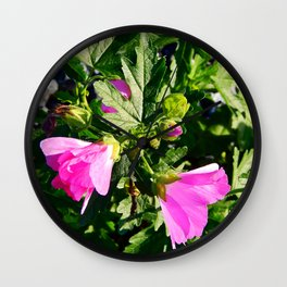 Pink Musk Mallow in September Wall Clock