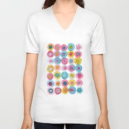 Fiesta Watercolor Flowers Unisex V-Neck
