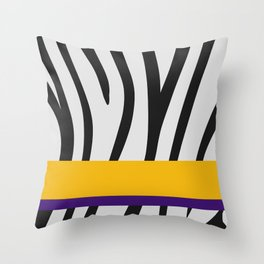 Black/White Zebra Stripe Pattern w/ Gold/Royal Purple Divider Lines - Abstract Art #ArtofGaneneK Throw Pillow