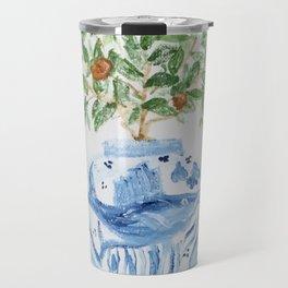 Blue and White Ginger Jar Orange Tree  Travel Mug