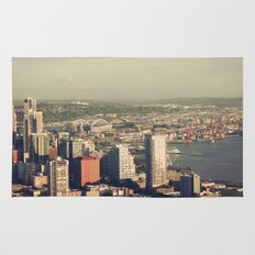 City of Seattle. View from city tower. Landscape city architecture photography. Rug