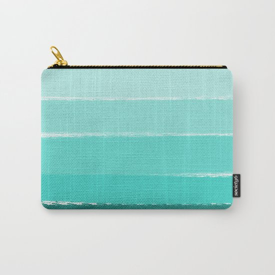 Ombre brushstrokes modern minimal ocean abstract painting wall art Carry-All Pouch