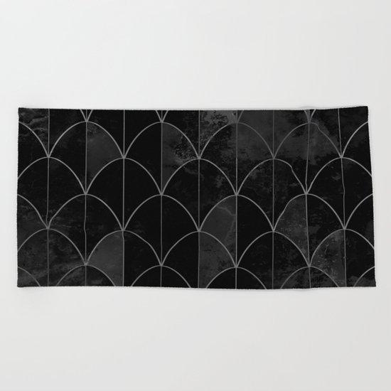 Mermaid scales in black and white. Beach Towel