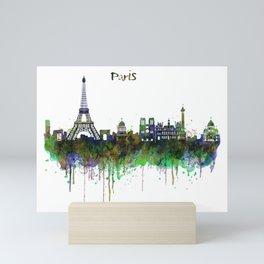 Paris Skyline watercolor Mini Art Print