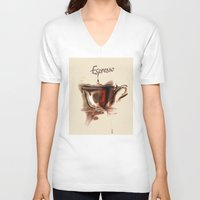 coffe V-neck T-shirts featuring coffe by tatiana-teni