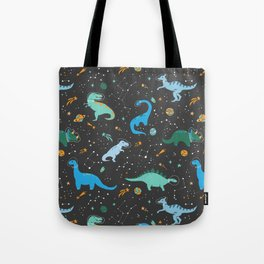 Dinosaurs in Space in Blue Tote Bag