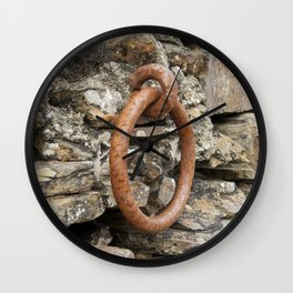 Rusty mooring ring Wall Clock
