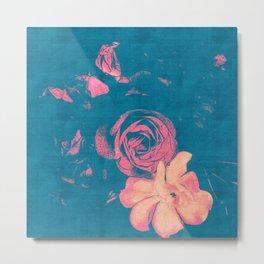Garden Blue 1 - Texture Rose Study in red peach scarlet indigo Metal Print
