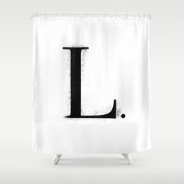 L. - Distressed Initial Shower Curtain