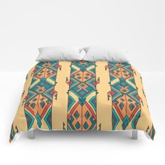 Vintage ethnic tribal aztec ornament Comforters