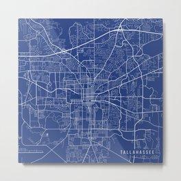 Tallahassee Map, USA - Blue Metal Print