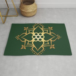 Indian Golden Lotus Harmony Mandala Pattern with Classy Green background color Rug