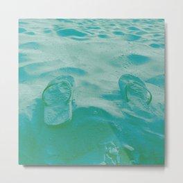 Thongs in the sand photo Metal Print