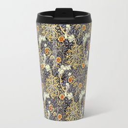 William Morris Variation Periwinkle Blue and Marigold Colors Travel Mug