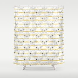 Cute hand drawn pug dog and golden stripes pattern Shower Curtain