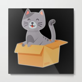 Cat Funny Design Cats Cute Paw Pet Animal Gift Metal Print