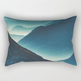 Misty Blue Silhouette Mountain  Range Rural / Rustic Landscape Photograph Rectangular Pillow