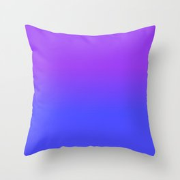 Neon Blue and Bright Neon Purpel Ombré Shade Color Fade Throw Pillow